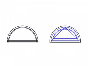 forme de fenêtre cintrée en demi-lune avec ocillo battant
